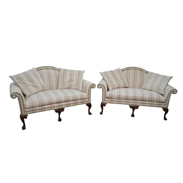 Heritage Chippendale Style Ball & Claw Foot Loveseats - A Pair For Sale