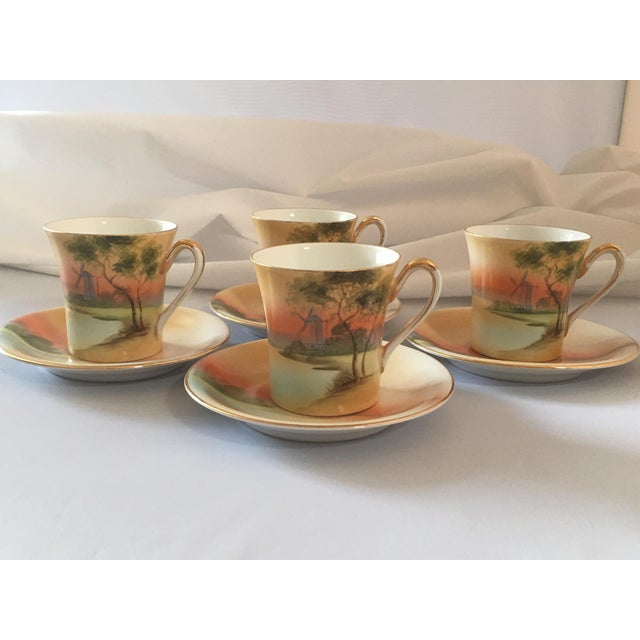 Handpainted Noritake Windmill Scene Cups & Saucers - Set of 4 For Sale - Image 9 of 11