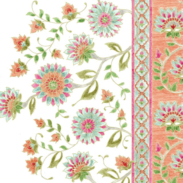 Ferran Indianas Fabric, Sample, Papaya in French Cotton Twill For Sale