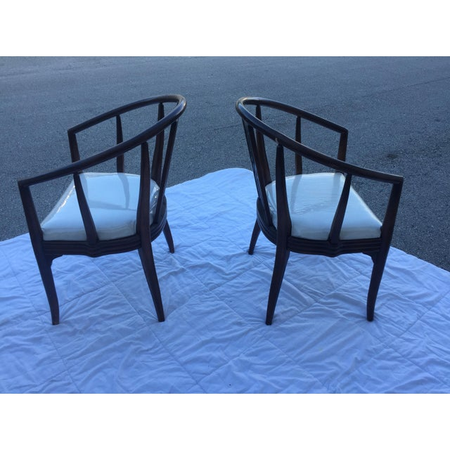 Lawrence Peabody 1980s Chinoiserie Curved Barrel Back Armchairs - a Pair For Sale - Image 4 of 7