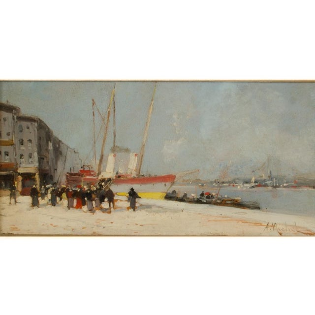 Harbor scene with people boarding ship - Oil on Panel , signed lower right - Framed dimensions: 21.5 in x 14 in; Image...