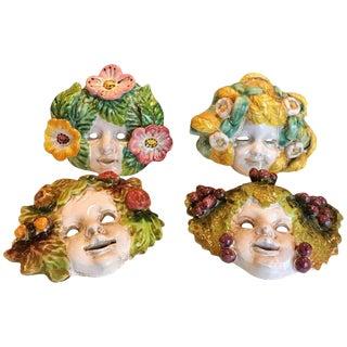 Four Italian Art Deco Majolica Wall Masks For Sale