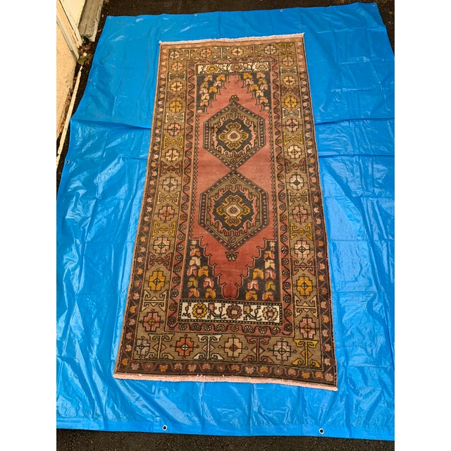 Textile Vintage Persian Area Rug- 3′8″ × 8′3″ For Sale - Image 7 of 7