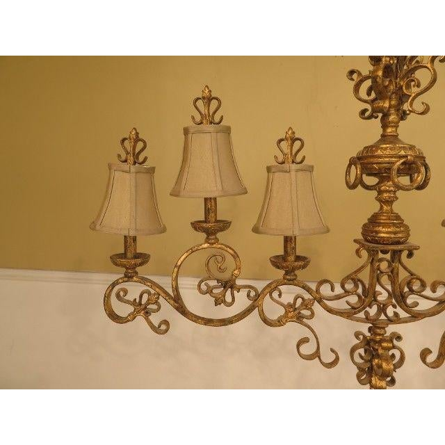 Traditional Chelsea House Venetian Decorated Iron 6 Light Island Chandelier For Sale - Image 3 of 8