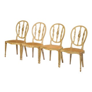 Mid-19th Century Vintage Hepplewhite Style Painted Chairs- Set of 4 For Sale