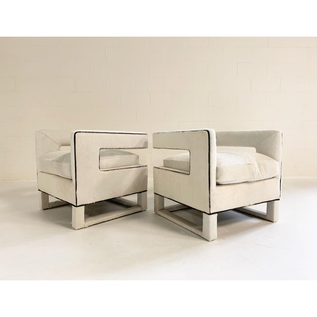 Cube Lounge Chairs in Brazilian Cowhide - A Pair For Sale - Image 12 of 12