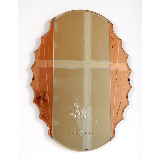 Antique Art Deco Stylized Pink Etched Glass Wall / Vanity Mirror For Sale - Image 13 of 13