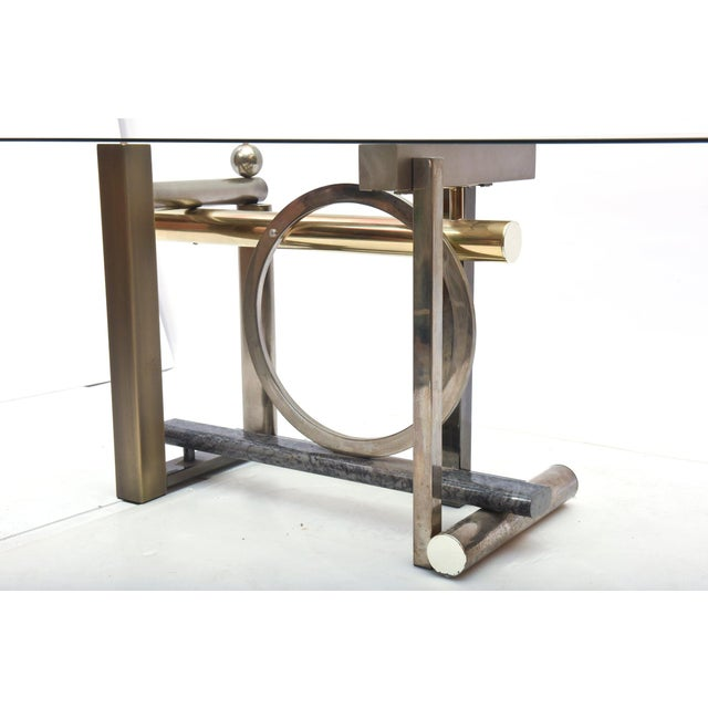 Mid-Century Modern American Modern Chrome, Brass and Glass Dining Table, DIA For Sale - Image 3 of 10