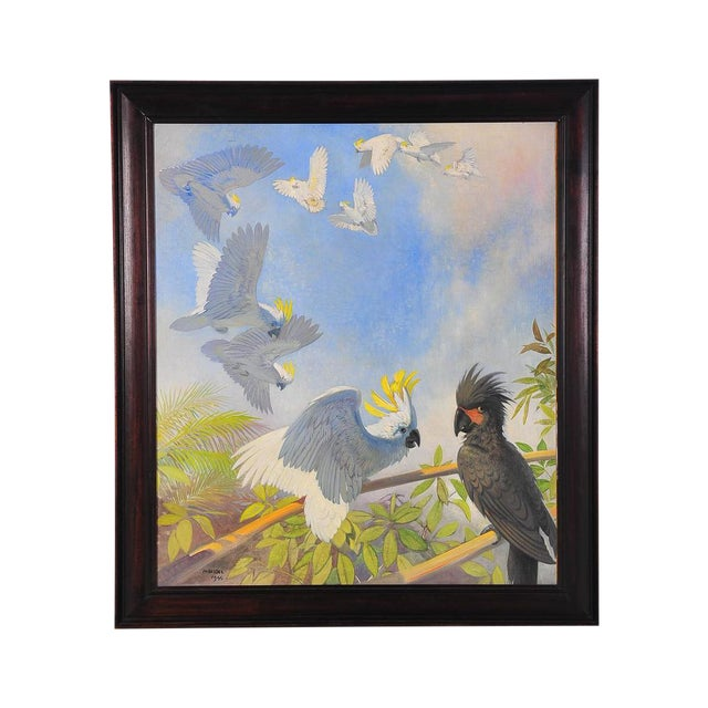 White Parrots, Oil Painting by J. Moessel For Sale