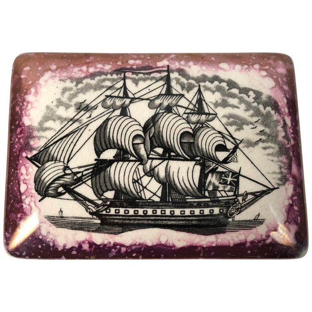Staffordshire Sunderland Lustreware Porcelain Box With Sailor and Ship Theme For Sale - Image 12 of 12