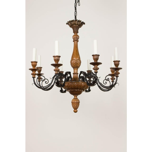 Iron & Wood Eight Arm Chandelier For Sale - Image 9 of 9