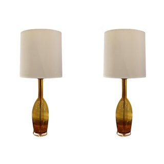 Mid-Century Modern Murano Glass Lamps by Balboa - a Pair For Sale