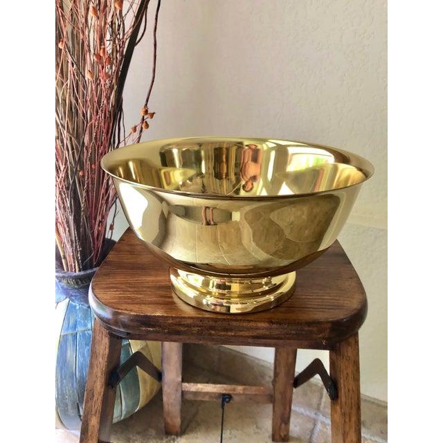 Baldwin Revere Polished Brass Pedestal Bowl For Sale - Image 10 of 10