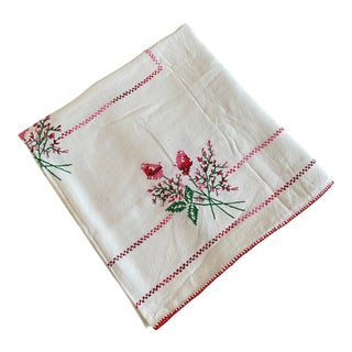 French Handmade Linen Floral Tablecloth For Sale