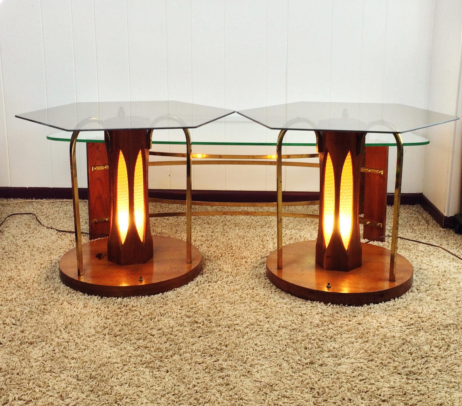 MidCentury Wood Glass Coffee Lighted Side Table Set of 3