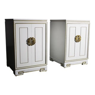 Pair of White Regency End Tables/Cabinets With Gold Trim Detailing For Sale
