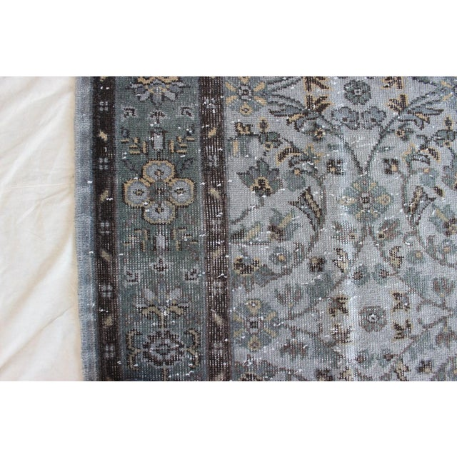 "Vintage Gray Turkish Over-Dyed Rug - 6' x 9'3"" - Image 8 of 10"