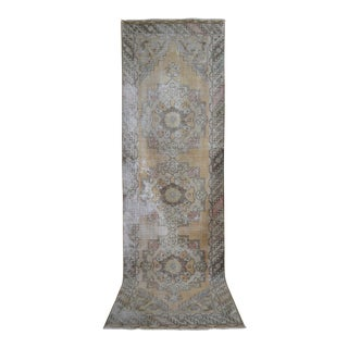 Distressed Oushak Rug Runner - Faded Colors Hallway Rug 2'11″ X 9'9″ For Sale