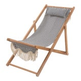 Image of Sling Outdoor Chair - Lauren's Navy Stripe with Fringe For Sale
