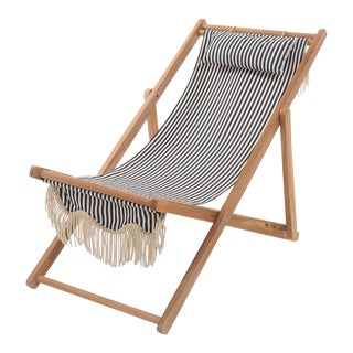Sling Outdoor Chair - Lauren's Navy Stripe with Fringe For Sale