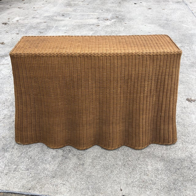 1970s Boho Chic Trompe L'oeil Rattan Skirted Console Ghost Table For Sale - Image 9 of 9