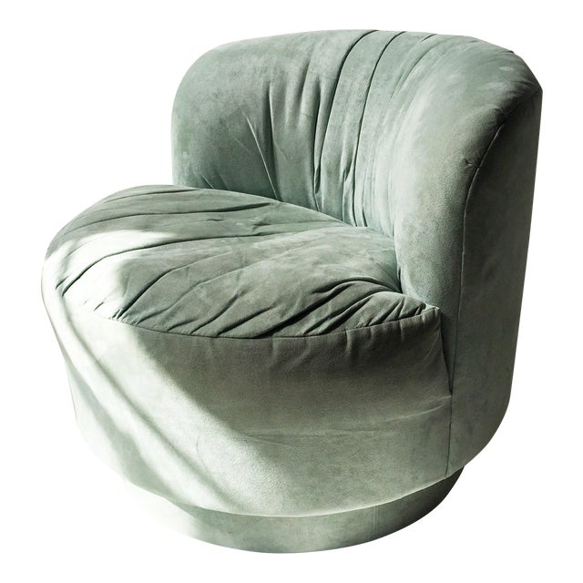Vintage Mint Suede Swivel Chair - Image 1 of 5