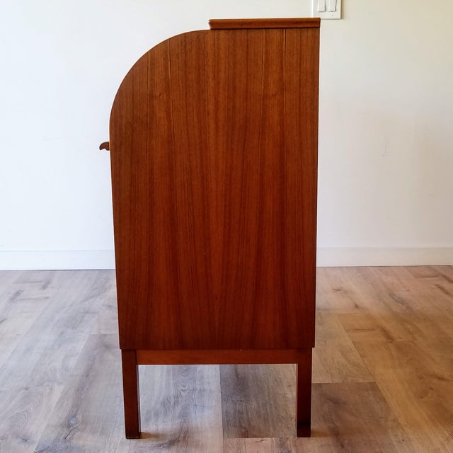 Mid-Century Modern 1960s Egon Ostergaard Teak Roll-Top Writing Desk For Sale - Image 3 of 13