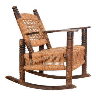 Antique Children's Wood & Wicker Seagrass Armchair Rocker For Sale