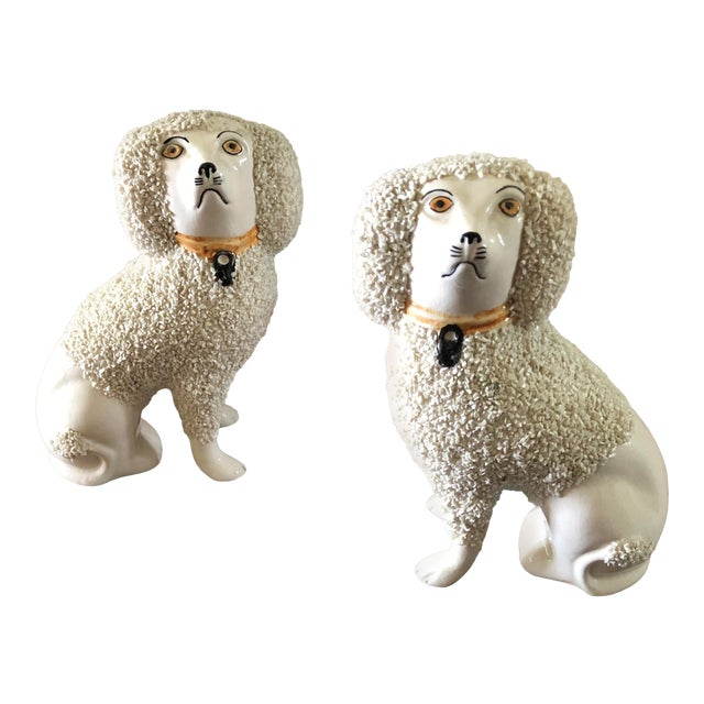 Antique Staffordshire Poodle Dog Figurines- a Pair For Sale