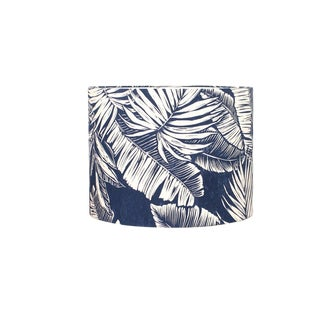 Navy Palm Leaf Drum Lamp Shade For Sale