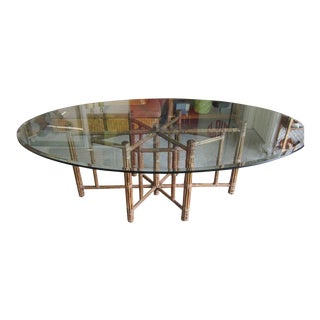 McGuire Natural Bamboo Glass Top Dining Table For Sale