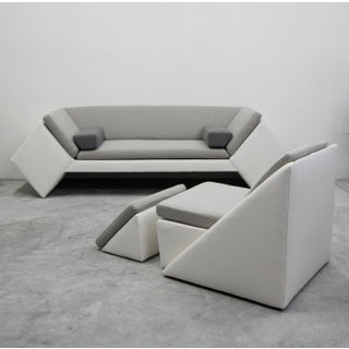 Post Modern Geometric Sofa and Chair With Ottoman Set by Thayer Coggin Preview