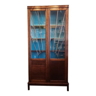 1920s English Oak Arts & Crafts Bookcase With Sunburst For Sale