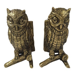 Mid-Century Modern of Brass Owl Bookends - a Pair For Sale