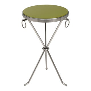 KRB New York Collection Freddie Table Nickel in Olive Green / Nickel For Sale
