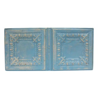 Antique Sky Blue Egg & Dart Tin Panel For Sale