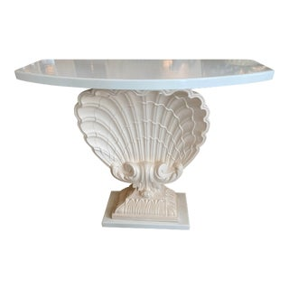 Vintage Hollywood Regency Coral Lacquered Plaster Seashell Scallop Shell Console Table For Sale