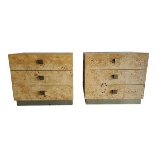 1970s Founders Furniture Company Maple Burlwood Nightstands - a Pair For Sale