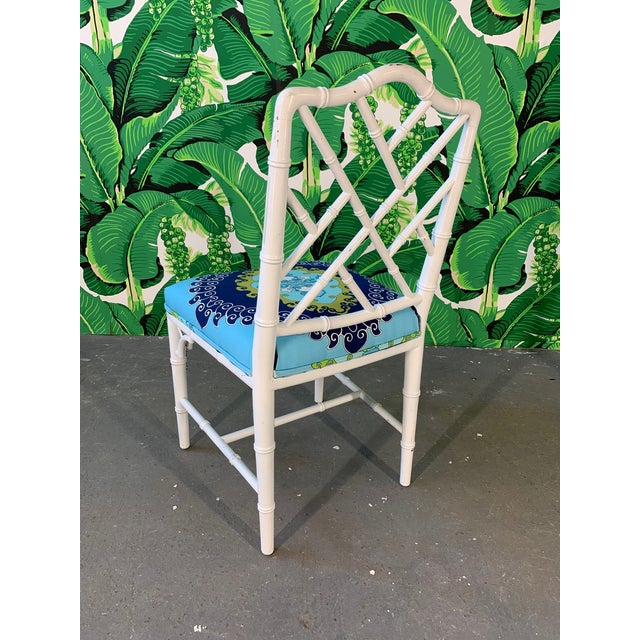 Faux Bamboo Chinoiserie Style Dining Chairs - Set of 4 For Sale - Image 6 of 10
