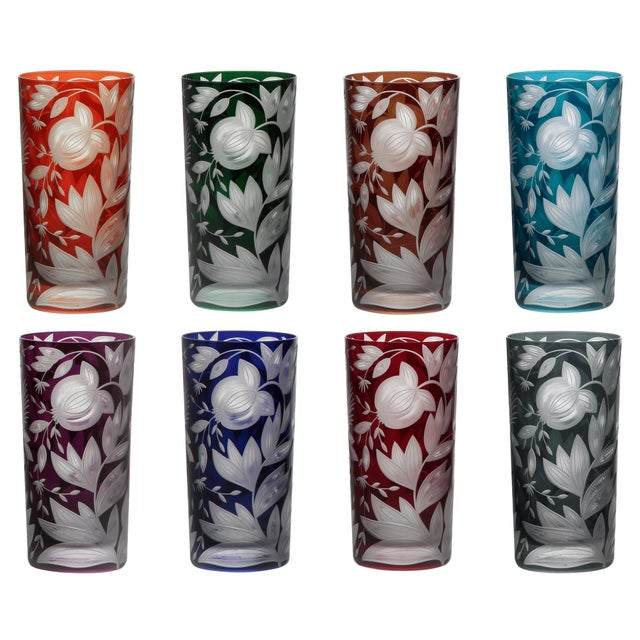 Verdure Highball Glasses, Set of 8, Jewel Tones (Racer Green, Burnt Orange, Ink, Mahogany, Purple, Red, Peacock, Smoke) For Sale - Image 11 of 11