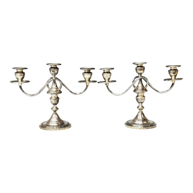 1940s Sterling Silver Three-Light Candelabras - a Pair For Sale