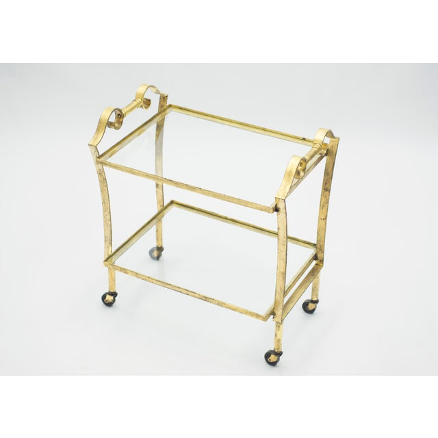 Maison Ramsay French Neoclassical Maison Ramsay Gilded Iron Bar Cart 1940s For Sale - Image 4 of 12