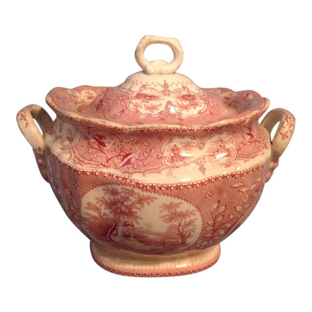 English Traditional Red Transfer-Ware Two Handled Bowl With Lid For Sale