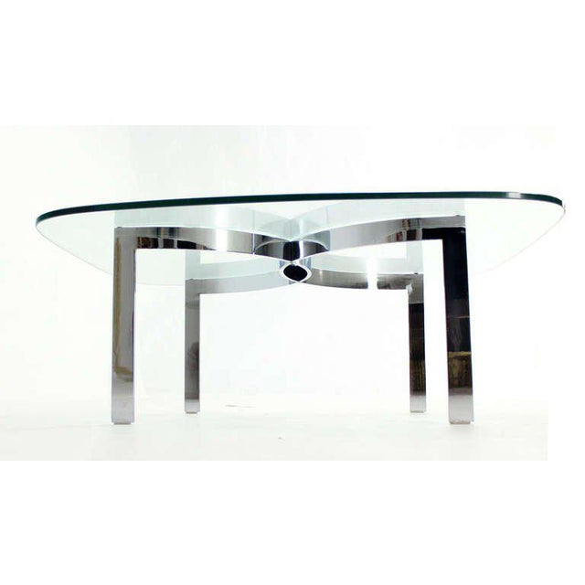 Chrome Mid-Century Modern Chrome and Glass-Top Coffee Table For Sale - Image 7 of 10
