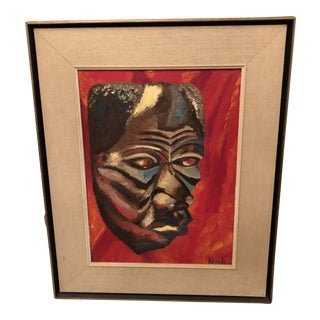 Artist Signed Oil Painting of African Mask Titled JoJo For Sale