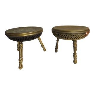 Pair of Vintage Low Round Tripod Indian Low Stools or Tables For Sale
