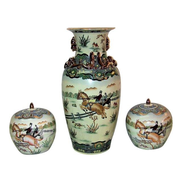 Early 20c Chinese Hunt Scene Floor Vase and Lidded Urns For Sale