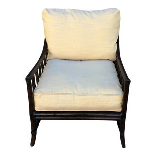 Bamboo Chair With Linen Cushions For Sale