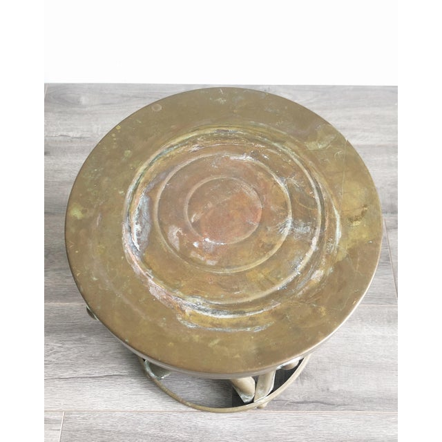 1960s Boho Chic Brass Drum Table For Sale - Image 4 of 7