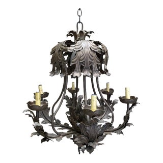 Hand Forged Wrought Iron Chandelier For Sale